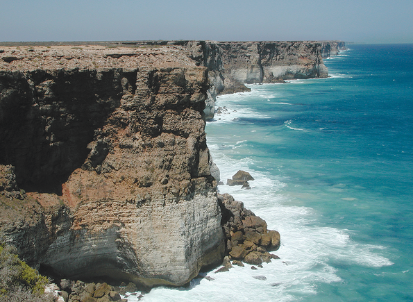 Baxter cliffs, Nullarbor Plain, looking east into South Australia, are evidence of the split of Australia from Antarctica