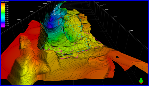 Perth Basin – 3D view to the south of depth to basement displaying prospective CO2 storage locations