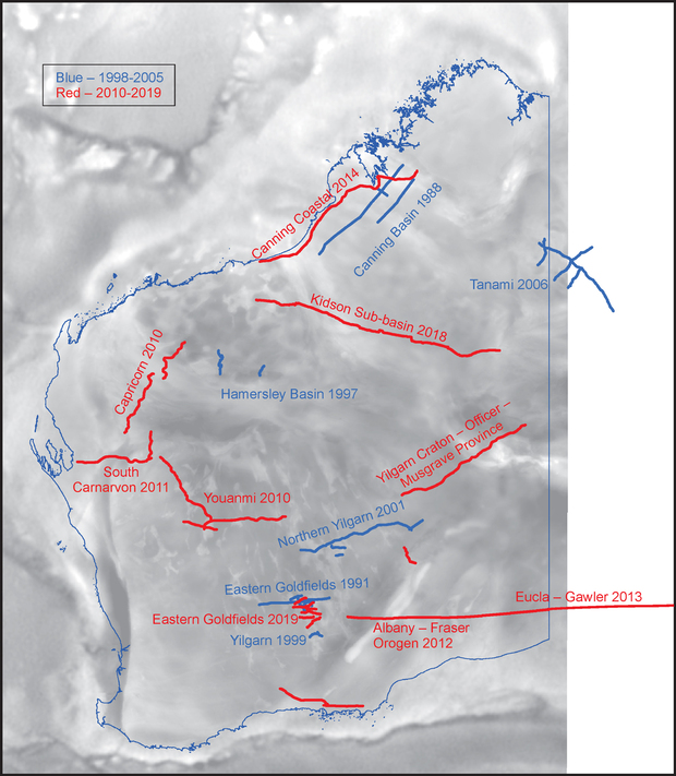 Deep crustal seismic reflection surveys